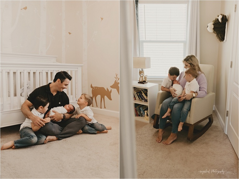 nursery newborn session with siblings